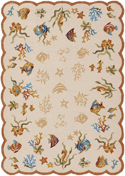Couristan Outdoor Escape 2133-1015 Coral Dive Sand Indoor-Outdoor Area Rug