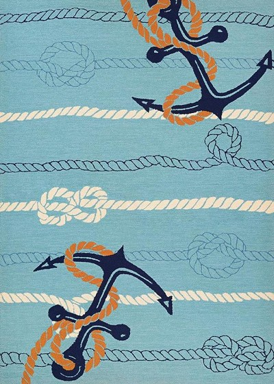 Couristan Outdoor Escape 4295/4179 Anchorbend Ocean Blue Area Rug