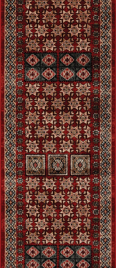 "Couristan Timeless Treasures 4307-0300A Royal Kazak Burgundy 2'2"" (26"") Wide Hall and Stair Runner"