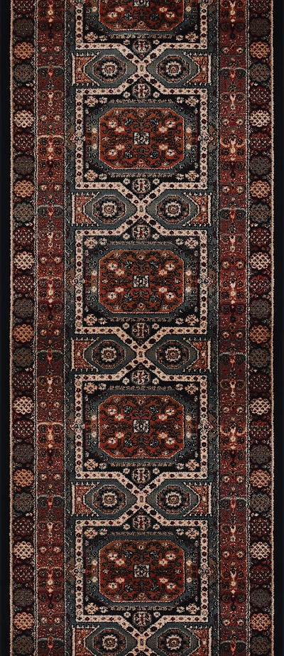 "Couristan Timeless Treasures 4324-0500A Maharaja Ebony 2'2"" (26"") Wide Hall and Stair Runner"
