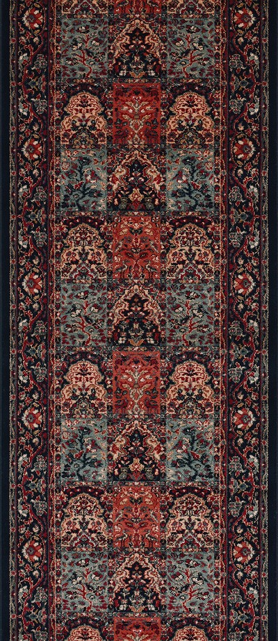 "Couristan Timeless Treasures 4325-0500A Vintage Baktiari Ebony 2'2"" (26"") Wide Hall and Stair Runner"