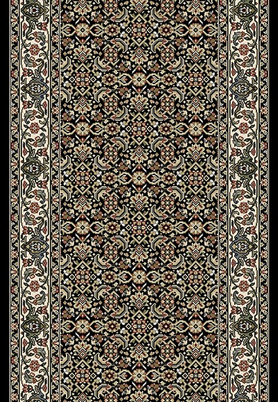 "Ancient Garden 57011-3263 Black/Ivory 2'7"" Wide Hall and Stair Runner"