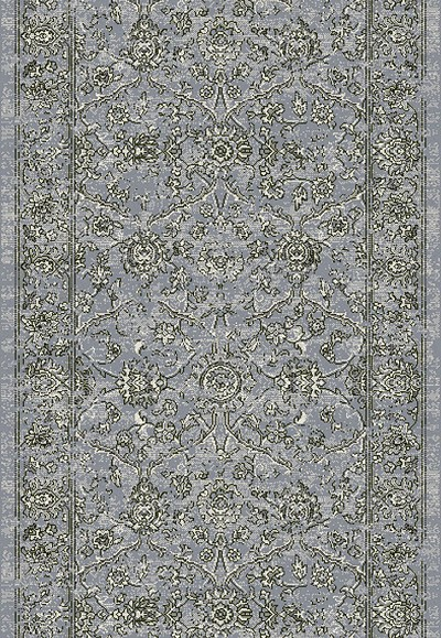 "Ancient Garden 57136-4646 Steel Blue/Cream 2'7"" Wide Hall and Stair Runner"