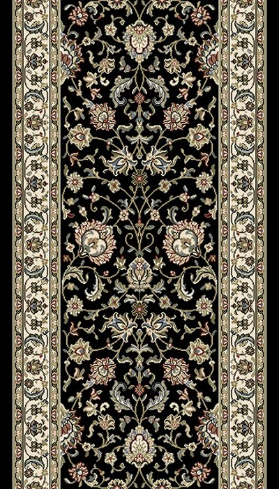 "DaVinci Kashan 32 Black 2'2"" Wide Hall and Stair Runner"