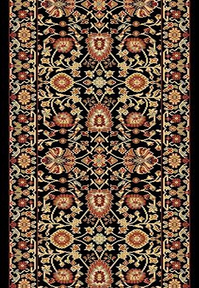 "Dynamic Rugs Yazd 2803-090 Black 2'2"" Wide Hall and Stair Runner"