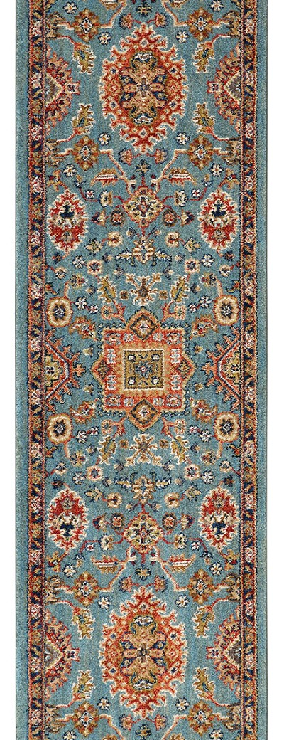"Karastan Spice Market 90665-50123 Deir Aquamarine 2'4"" (28"") Wide Hall and Stair Runner"