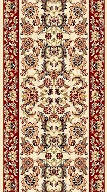 "Kas Cambridge Classic 7303 Ivory Red Kashan 2'3"" (27"") Wide Hall and Stair Runner"