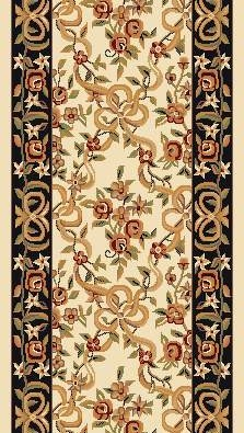 "Kas Cambridge Floral 7310 Ivory Black Floral Ribbons 2'3"" (27"") Wide Hall and Stair Runner"