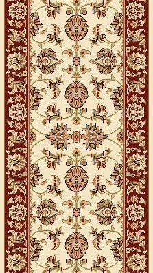 "Kas Cambridge Classic 7312 Ivory Red Kashan 2'3"" (27"") Wide Hall and Stair Runner"