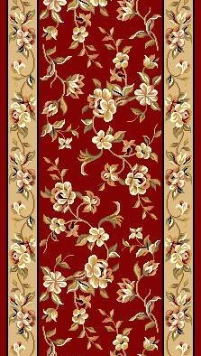 "Kas Cambridge Floral 7337 Red Beige Floral Delight 2'3"" (27"") Wide Hall and Stair Runner"