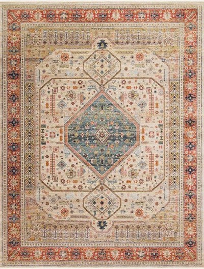 Graham GRA-03 Persimmon/Antique Ivory Area Rug - Magnolia Home by Joanna Gaines