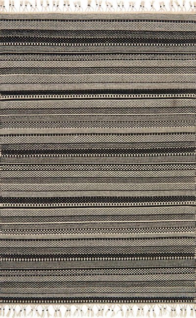 Mikey IK-01 Black Ivory Area Rug - Magnolia Home by Joanna Gaines