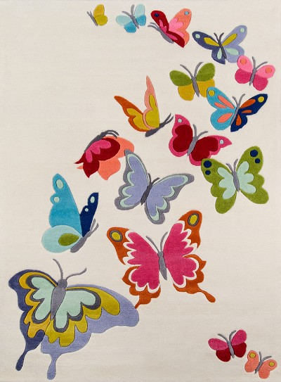 Momeni Lil Mo Whimsy LMJ-32 Butterfly Flutter Ivory Area Rug