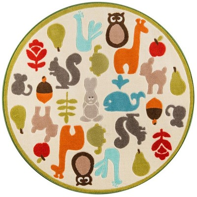 "Momeni Mini Mo PLA-1 Baby Wild Things Ivory 4'4"" X 4'4"" Round Area Rug"