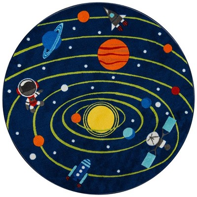 "Momeni Mini Mo PLA-3 Out of This World Navy 4'4"" X 4'4"" Round Area Rug"
