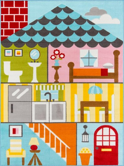 "Momeni Mini Mo PLA-8 Play House Multi 3'3"" X 4'11"" Area Rug"