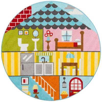"Momeni Mini Mo PLA-8 Play House Multi 4'4"" X 4'4"" Round Area Rug"