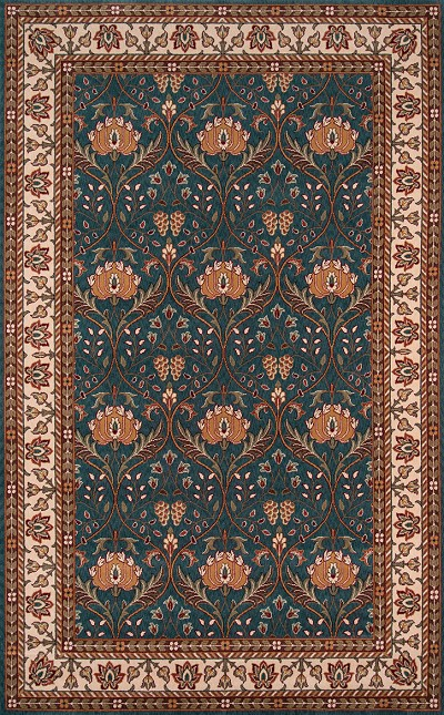"Momeni Persian Garden PG-12 Teal 8'0"" X 10'0"" Area Rug - LAST ONE!"