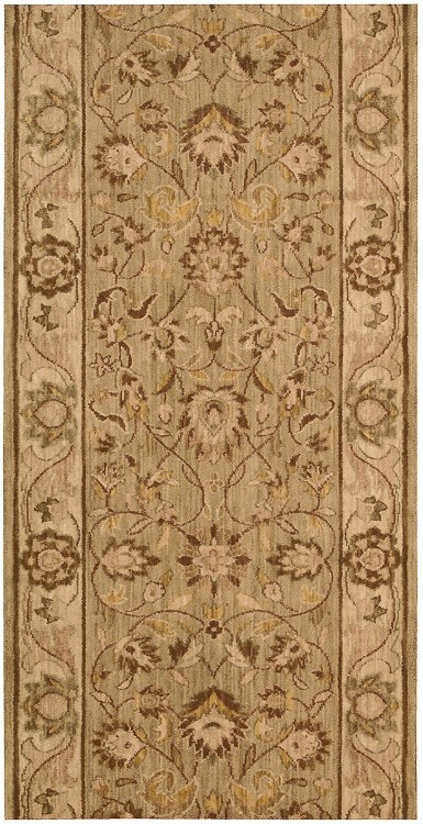 "Nourison Grand Parterre Kashan Elite PT01 Sage  3'5"" (41"")  wide Hall and Stair Runner"