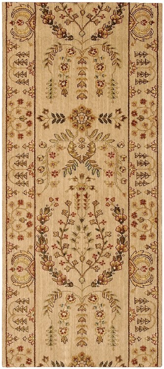 "Nourison Grand Parterre Lilihan Sarouk PT02 Beige  3'5"" (41"") wide Hall and Stair Runner"