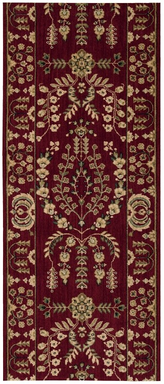 "Nourison Grand Parterre Lilihan Sarouk PT02 Burgundy 2'6"" (30"") wide Hall and Stair Runner"