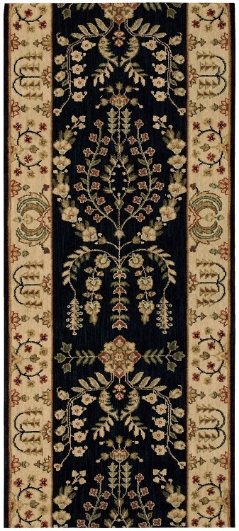 "Nourison Grand Parterre Lilihan Sarouk PT02 Midnight  3'5"" (41"") wide Hall and Stair Runner"