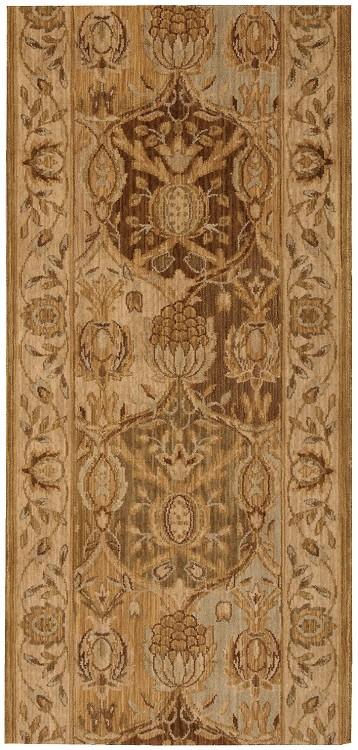 "Nourison Grand Parterre Grand Moghul PT04 Gold  3'5"" (41"") wide Hall and Stair Runner"