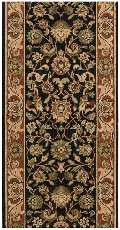 "Nourison Grand Parterre Grand Kashan PT05 Midnight 2'6"" (30"") wide Hall and Stair Runner"