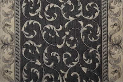 "Nourison Somerset Scrollwork ST02 Charcoal 2'3"" (27"") Wide Hall and Stair Runner"