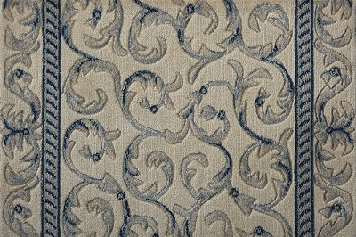 "Nourison Somerset Scrollwork ST02 Ivory/Blue 2'3"" (27"") Wide Hall and Stair Runner"