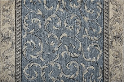 "Nourison Somerset Scrollwork ST02 Light Blue 2'3"" (27"") Wide Hall and Stair Runner"