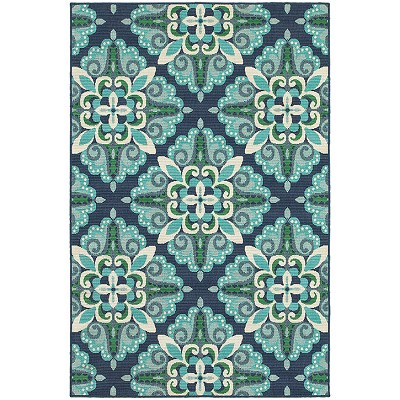 Oriental Weavers Meridian 2206B Blue/ Green Indoor Outdoor Area Rug