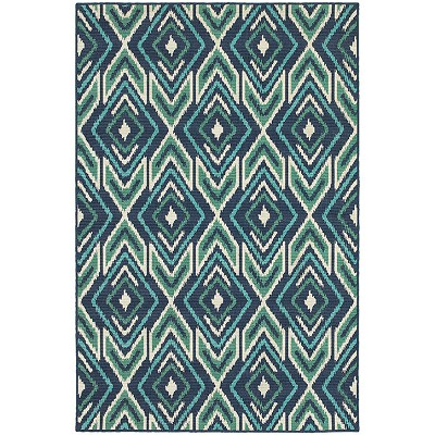 Oriental Weavers Meridian 2209B Navy/ Green Indoor Outdoor Area Rug