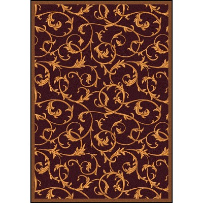 Any Day Matinee Acanthus Burgundy Area Rug by Joy Carpets