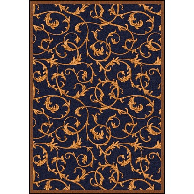 Any Day Matinee Acanthus Navy Area Rug by Joy Carpets