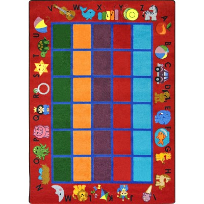 Kid Essentials - Early Childhood Alphabet Phonics Red Area Rug by Joy Carpets