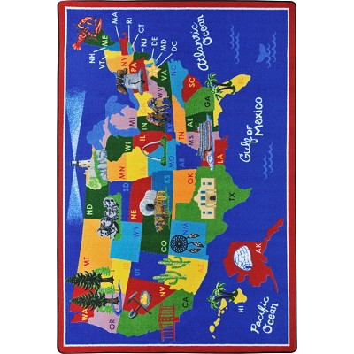Kid Essentials - Geography & Environment America the Beautiful Multi Area Rug by Joy Carpets