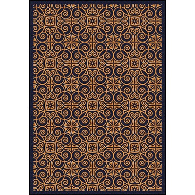 Any Day Matinee Antique Scroll Navy Area Rug by Joy Carpets