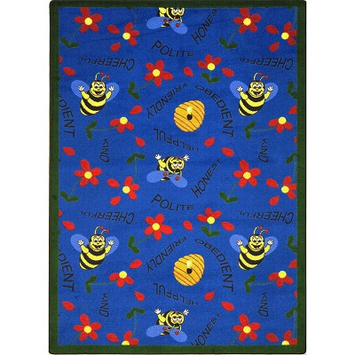 Kid Essentials - Early Childhood Bee Attitudes Blue Area Rug by Joy Carpets