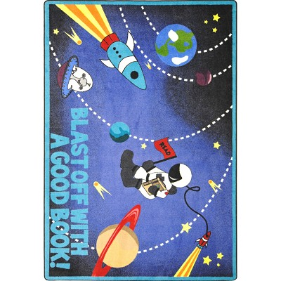 Kid Essentials - Language & Literacy Blast Off With a Good Book Multi Area Rug by Joy Carpets
