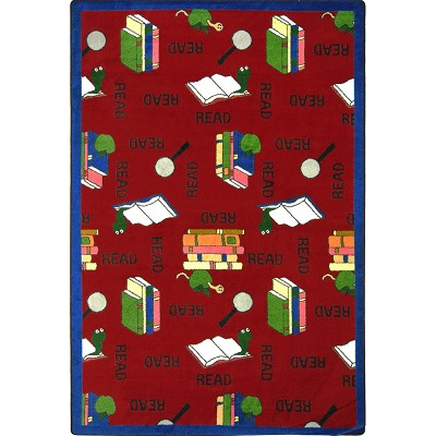 Kid Essentials - Language & Literacy Bookworm Red Area Rug by Joy Carpets