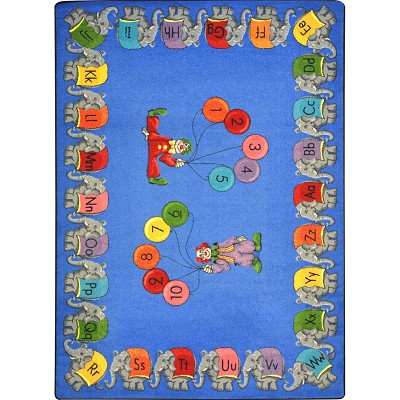 Kid Essentials - Early Childhood Circus Elephant Parade Multi Area Rug by Joy Carpets