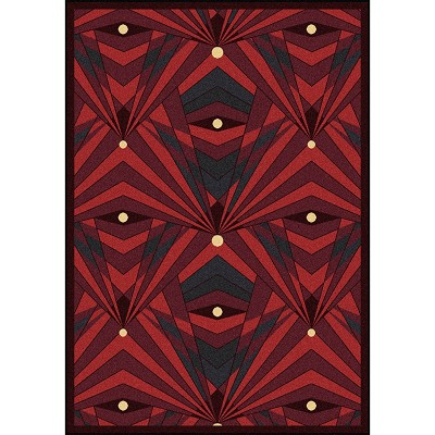 Any Day Matinee Deco Strobe Burgundy Area Rug by Joy Carpets