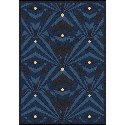 Any Day Matinee Deco Strobe Navy Area Rug by Joy Carpets