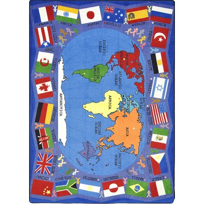 Kid Essentials - Geography & Environment Flags of the World Multi Area Rug by Joy Carpets