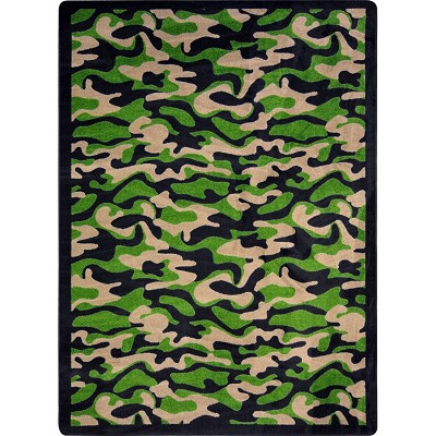 Kaleidoscope Funky Camo Dark Army Area Rug by Joy Carpets