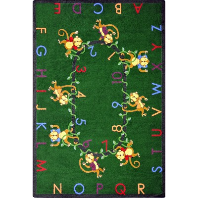 Kid Essentials - Early Childhood Monkey Business Green Area Rug by Joy Carpets