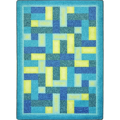 Kid Essentials - Teen Off Beat Teal Area Rug by Joy Carpets