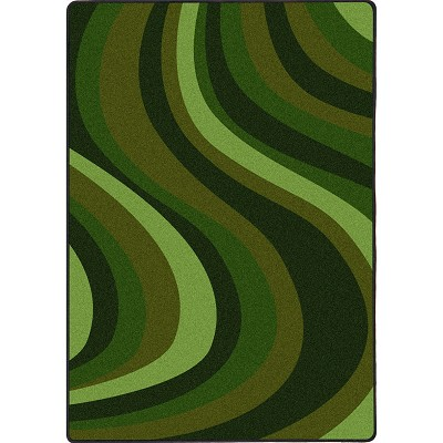 Kid Essentials - Teen On the Curve Green Area Rug by Joy Carpets