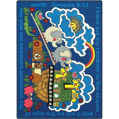 Kid Essentials - Inspirational Rainbows Promise Multi Area Rug by Joy Carpets
